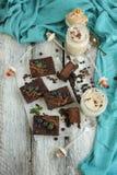 Coffe e torta di formaggio del cioccolato Immagini Stock