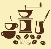 Coffe en coffe toebehoren Royalty-vrije Stock Afbeelding