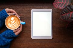 Coffe en tablet royalty-vrije stock foto
