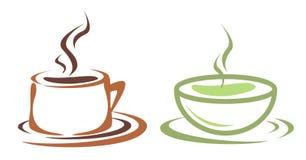 Coffe et cuvette de thé Images stock