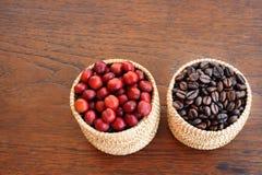 Coffe fasole i świeże jagod fasole Obrazy Royalty Free
