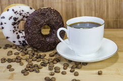 Coffee 5. Coffe with fig, cup and coffee beans stock photography