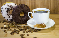 Coffee 6. Coffe with fig, cup and coffee beans royalty free stock image