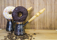 Coffee 9. Coffe with fig, cup and coffee beans royalty free stock photography