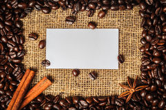 Coffe frame with visiting card in it Royalty Free Stock Photos
