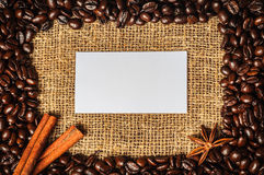 Coffe frame with visiting card in it Royalty Free Stock Image