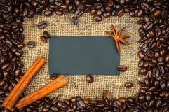 Coffe frame with visiting card in it Stock Photography