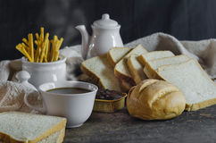 Coffe and fresh bread Stock Photography