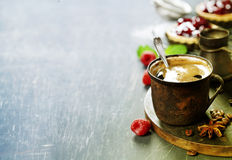 Coffe with Fruit dessert Stock Image