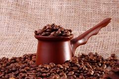 Coffe-Gerät auf dem Segeltuch Stockbild