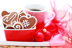Coffe with gingerbreads Stock Images