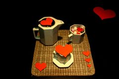 Hearts and cups of coffee. Saint valentine`s day royalty free stock photos