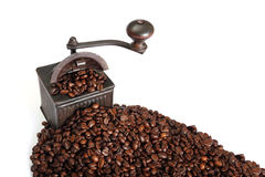 Coffe grinder and beans royalty free stock photography
