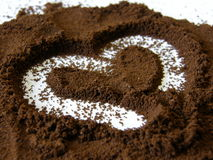 Coffe heart. Coffee heart on white background stock photos