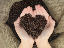 Coffe heart shape Stock Photography