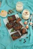 Coffe i czekoladowy cheesecake Zdjęcia Royalty Free