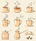 Coffe icons Royalty Free Stock Photography