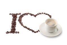 coffe ja kocham znaka Zdjęcie Stock