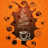 Coffe julgran stock illustrationer