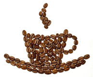 Coffe Körner konzipiert als Cup Lizenzfreie Stockbilder