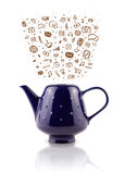 Coffe kann mit Hand gezeichneten Medienikonen Lizenzfreies Stockbild