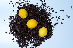 Coffe and lemons together on top stock photo