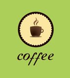 Coffe logo cup of tea cup of coffee chocolate. Caffee logo with hot caffe or chocolate inside Stock Photo