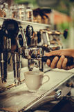 Coffe manchine Professional coffee The coffee Drinks containing Royalty Free Stock Photography