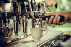 Coffe manchine Professional coffee The coffee Drinks containing Royalty Free Stock Images