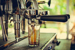 Coffe manchine Professional coffee The coffee Drinks containing Stock Photography