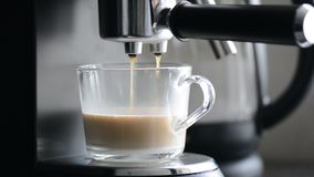 Coffe manchine Professional coffee, Coffee making in the morning. stock video footage