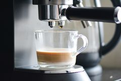 Coffe manchine Professional coffee, Coffee making in the morning. royalty free stock images