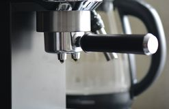 Coffe manchine Professional coffee, Coffee making in the morning. stock photography