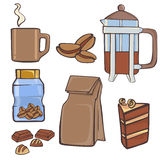 Coffe material set Stock Image