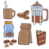 Coffe material set vector illustration