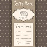 Coffe menu card. Coffee menu card template at a brown background with dots with doodle cup Royalty Free Illustration