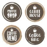 Coffe menu filiżanka i listy Grunge okręgu set również zwrócić corel ilustracji wektora Obraz Royalty Free