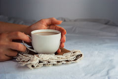 Coffe with Milk for Breakfast. Fresh Breakfast in the Bed stock image