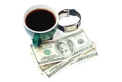 Coffe, money and watch Stock Photos