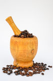 Coffe in mortar Royalty Free Stock Photography