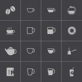 Coffe negro del vector   iconos fijados Fotos de archivo libres de regalías