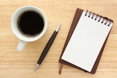 Coffe,notbooks and pen Royalty Free Stock Photos