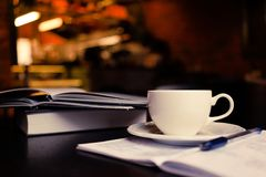 Coffe and notes royalty free stock photo