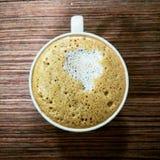 Coffe od above drewnianej biurko ranku kawy Fotografia Royalty Free
