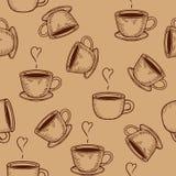 Coffe oder nahtloses Muster der Teeschalen Lizenzfreie Stockfotografie