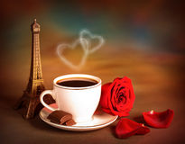 Coffe op de dag van de Valentijnskaart Royalty-vrije Stock Afbeelding