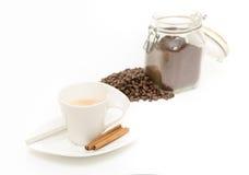 Coffe op wit Stock Afbeeldingen