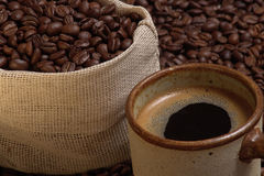 Coffe pack9.jpg. Cooffee pack an cup of coffee Stock Image