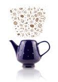 Coffe pode com ícones tirados mão dos meios Imagem de Stock Royalty Free