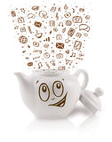 Coffe pode com ícones tirados mão dos meios Imagem de Stock
